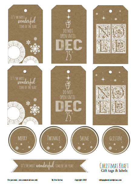 Free Printable Download - Christmas Kraft II Gift Tags - Vintage Glam ...