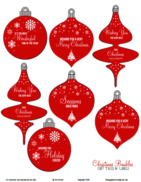 Free Printable Download - Christmas Ornaments Gift Tags - Vintage Glam ...